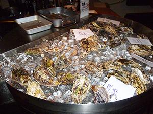 氷で冷やされている牡蠣