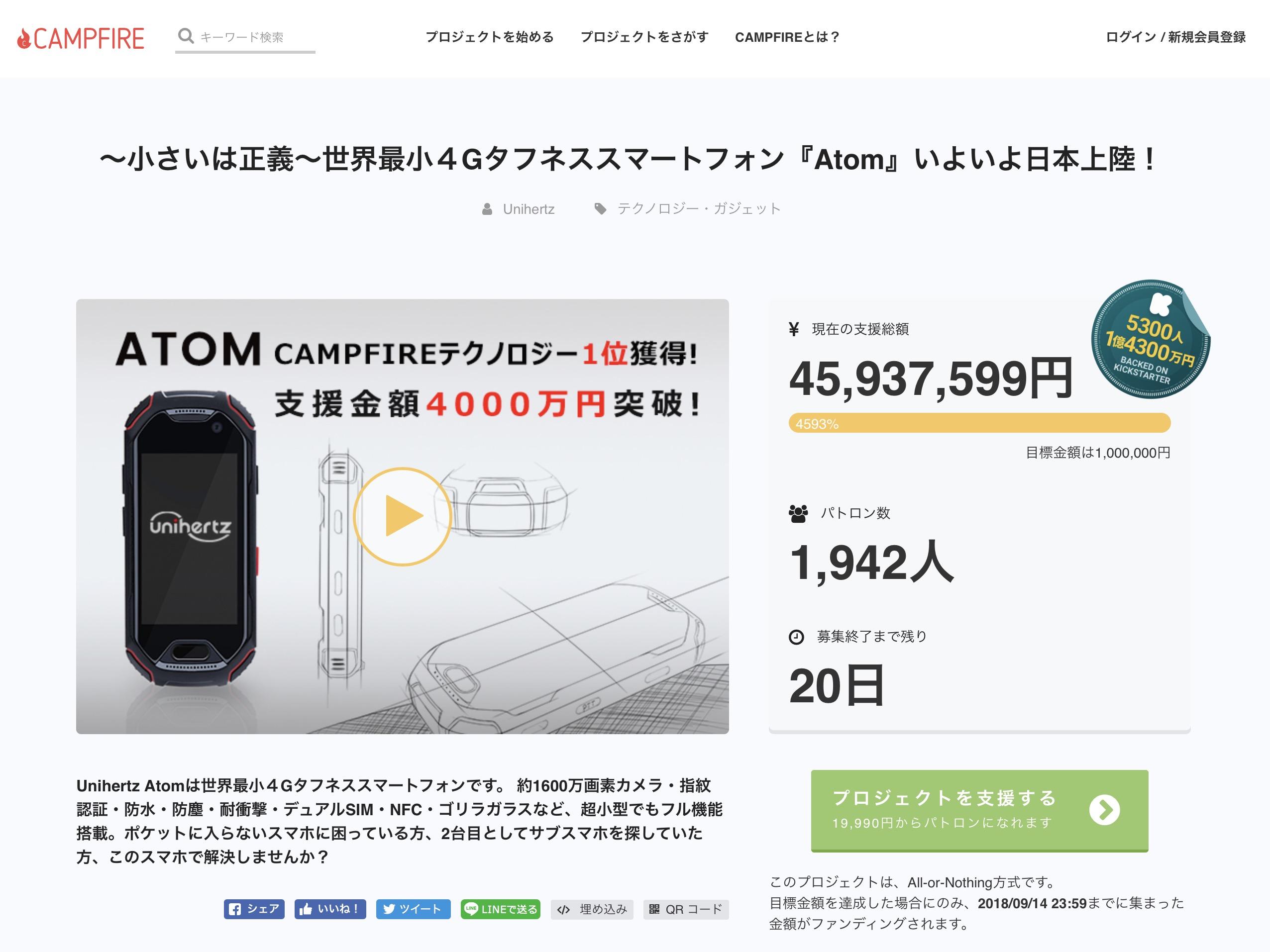 CAMPFIRE(キャンプファイヤー)の成功例⑤ 4,500万円達成!~小さいは正義~世界最小4Gタフネススマートフォン『Atom』いよいよ日本上陸!