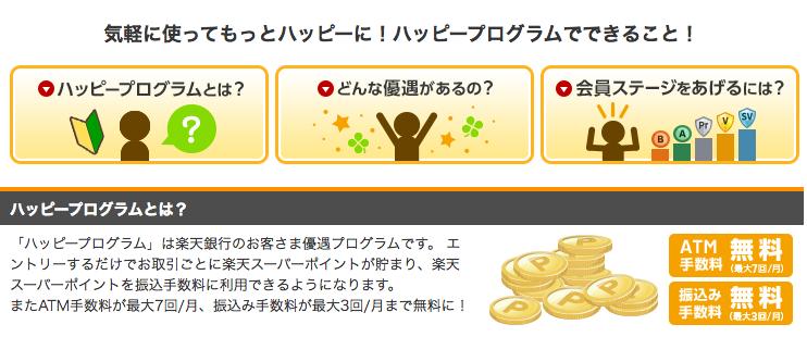 楽天銀行公式サイト「ハッピープログラム」