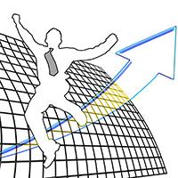 上昇中の起業家を模しているアイキャッチ画像