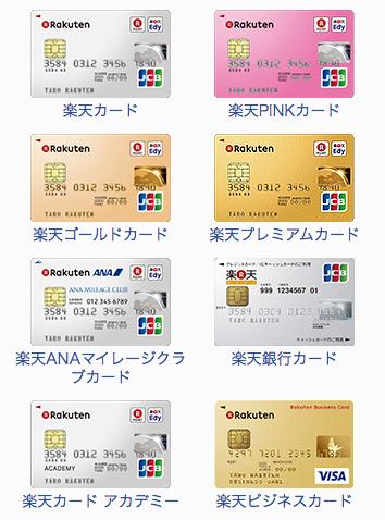 楽天カードは全8種類