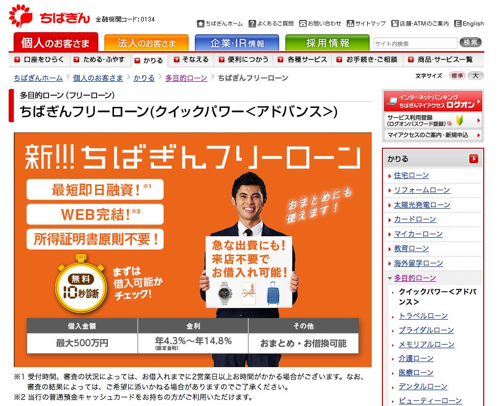千葉銀行「ちばぎんフリーローン」