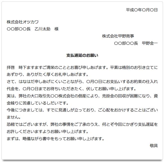 支払い遅延のお詫び(手紙の書き方)