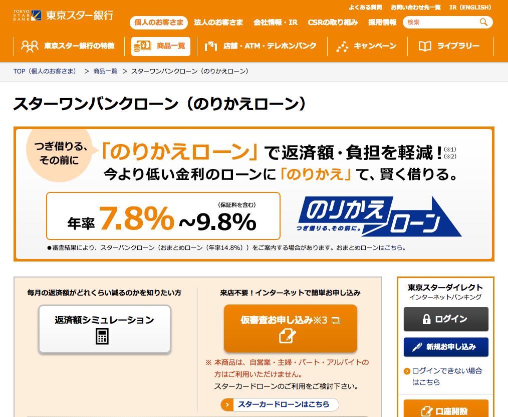 東京スター銀行のりかえローン