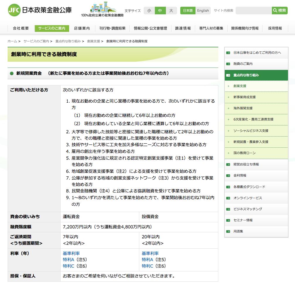 日本政策金融公庫「創業融資」