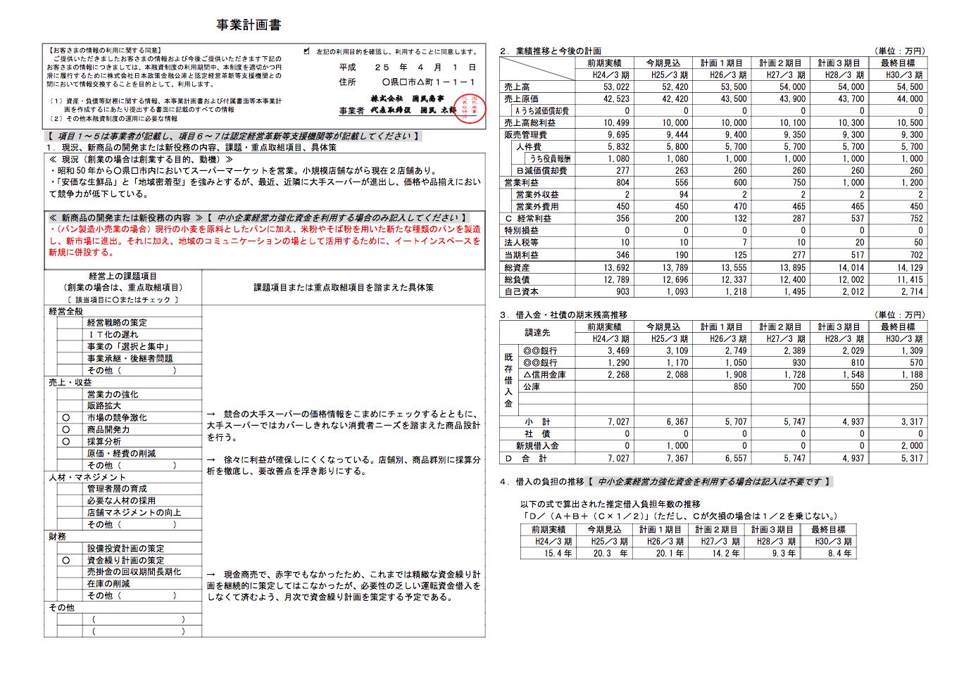 事業計画書の作成例(日本政策金融公庫)