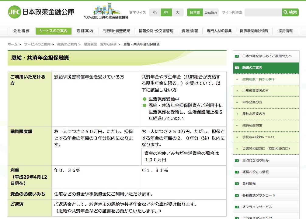 日本政策金融公庫(恩給・共済年金担保融資)