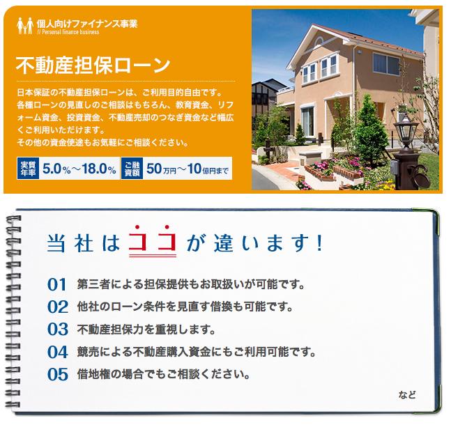 日本保証 の「不動産担保ローン」