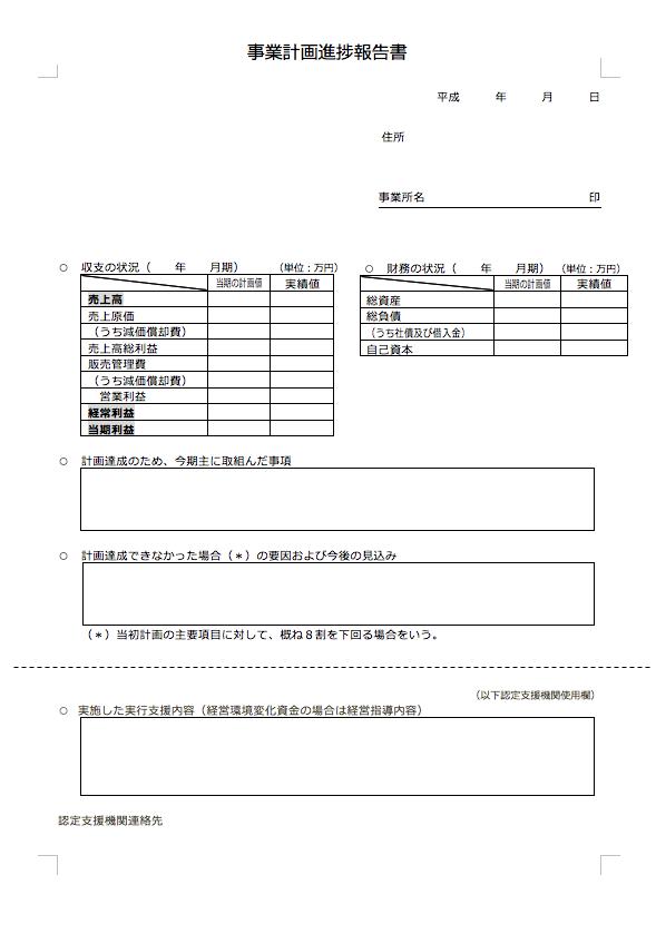 事業計画進捗報告書」の例