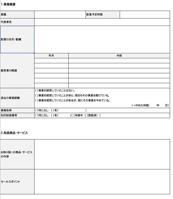 事業計画書の書式(事業概要)