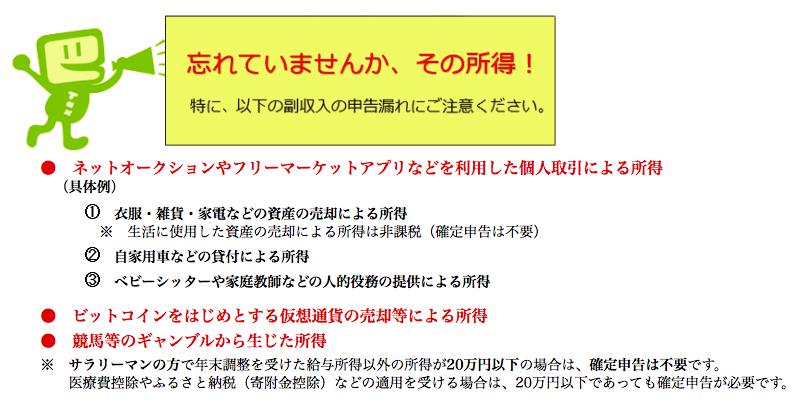 確定申告の注意点(国税庁)