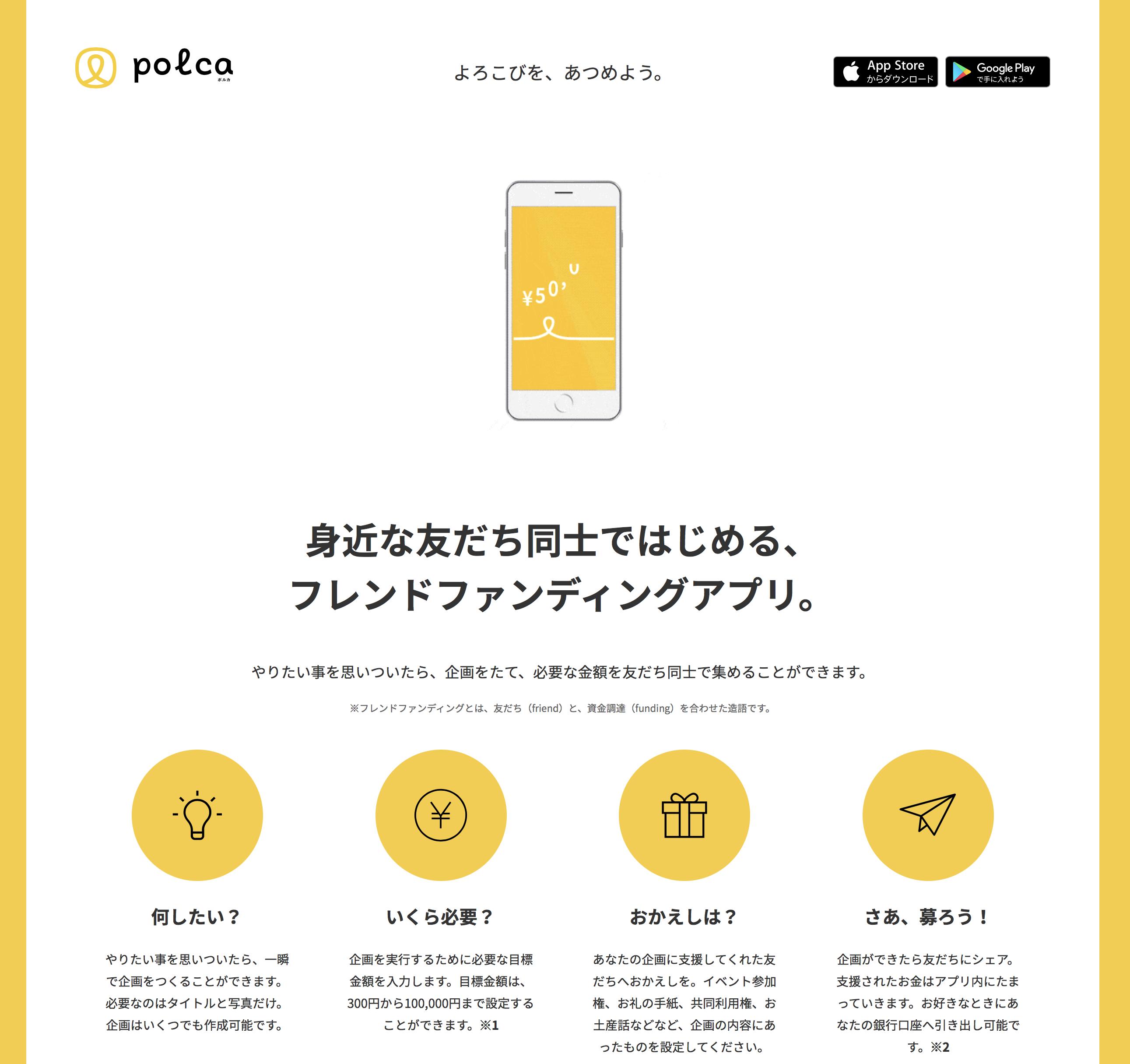 polca(ポルカ)フレンドファンディングアプリ