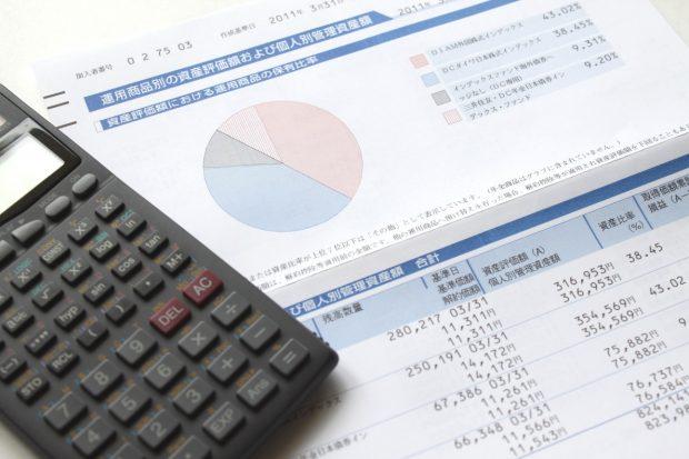 投資信託報告書と電卓