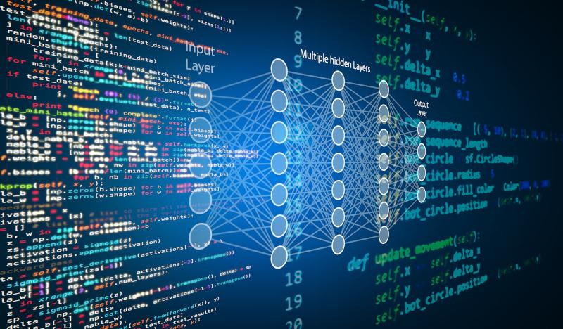機械学習、人工知能、ai、ディープラーニングブロックチェーンニューラルネットワークのコンセプト