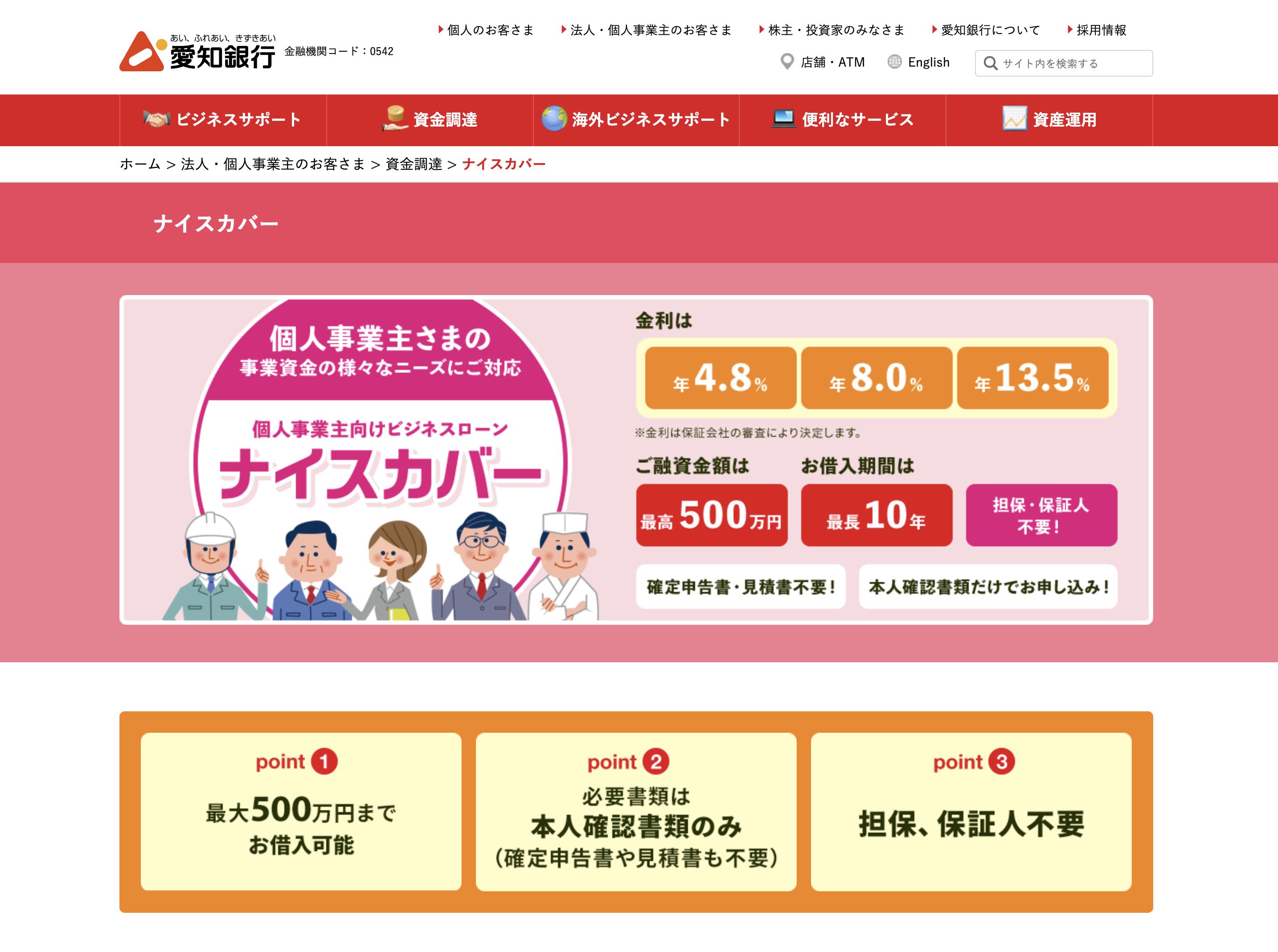 愛知銀行個人事業主向けビジネスローン「ナイスカバー」