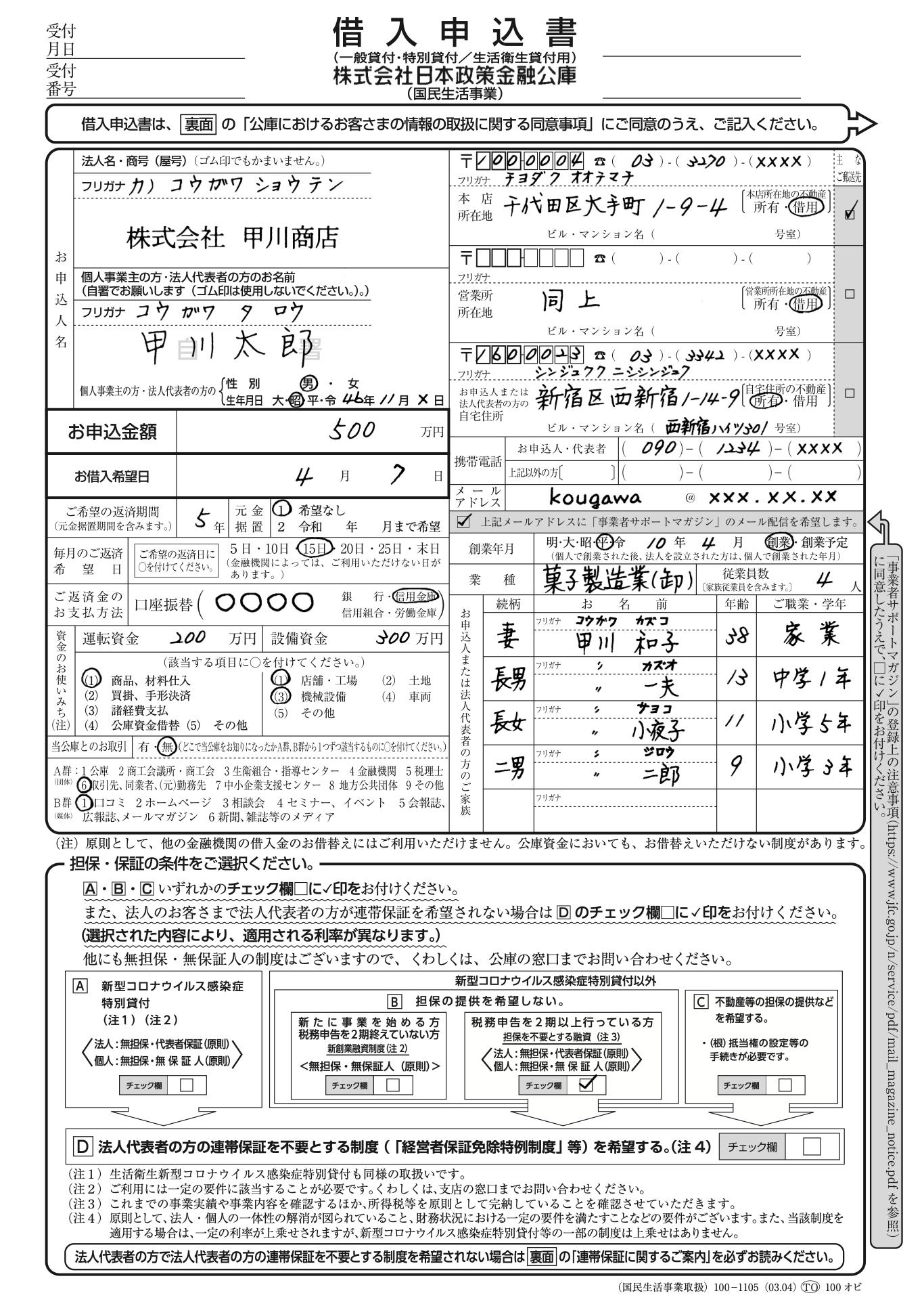 借入申込書の見本(日本政策金融公庫)