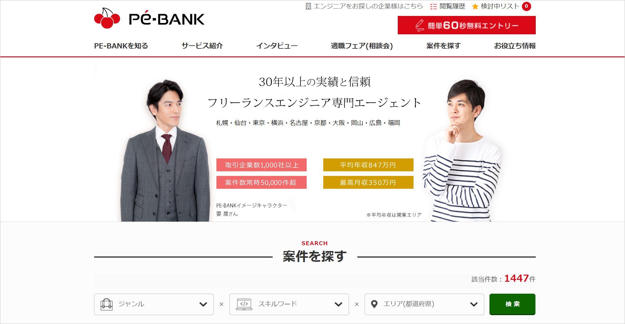 PE-BANKのトップ画面