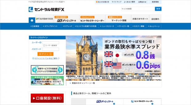 セントラル短資FXのトップ画面