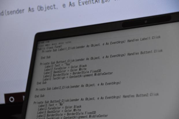 プログラミングのパソコン画面
